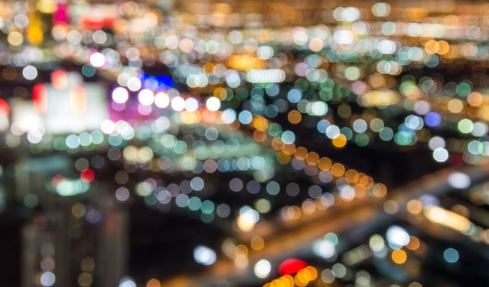 blurred las vegas strip skyline